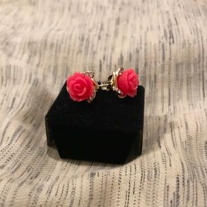 🆕 Claire's Flower Pink Rose Stud Earrings